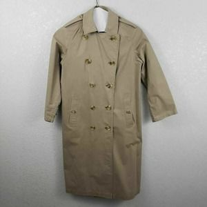 Vtg Burberry Trench Coat Double Breasted 8 Tall